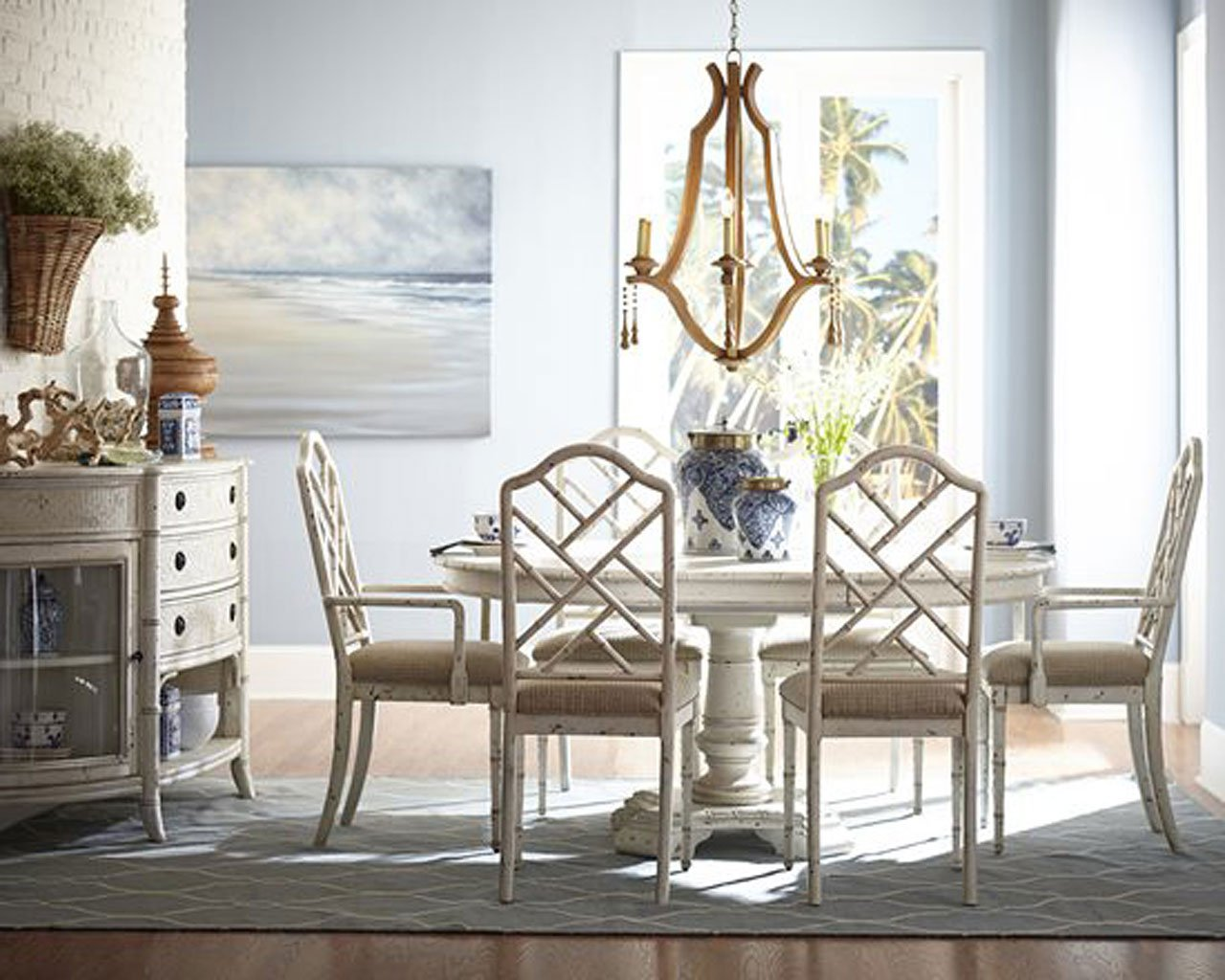 bamboo dining room furniture | Emporium Bamboo Round Dining Room Set (White) by ...