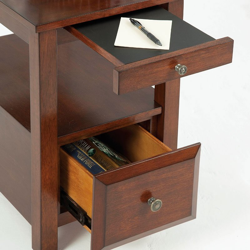 Chairside Table W Pull Out Tray And Drawer By Progressive