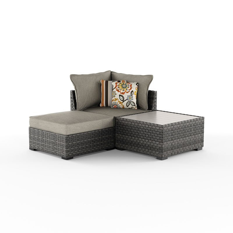 Spring Dew Outdoor Corner Seat W Table And Ottoman