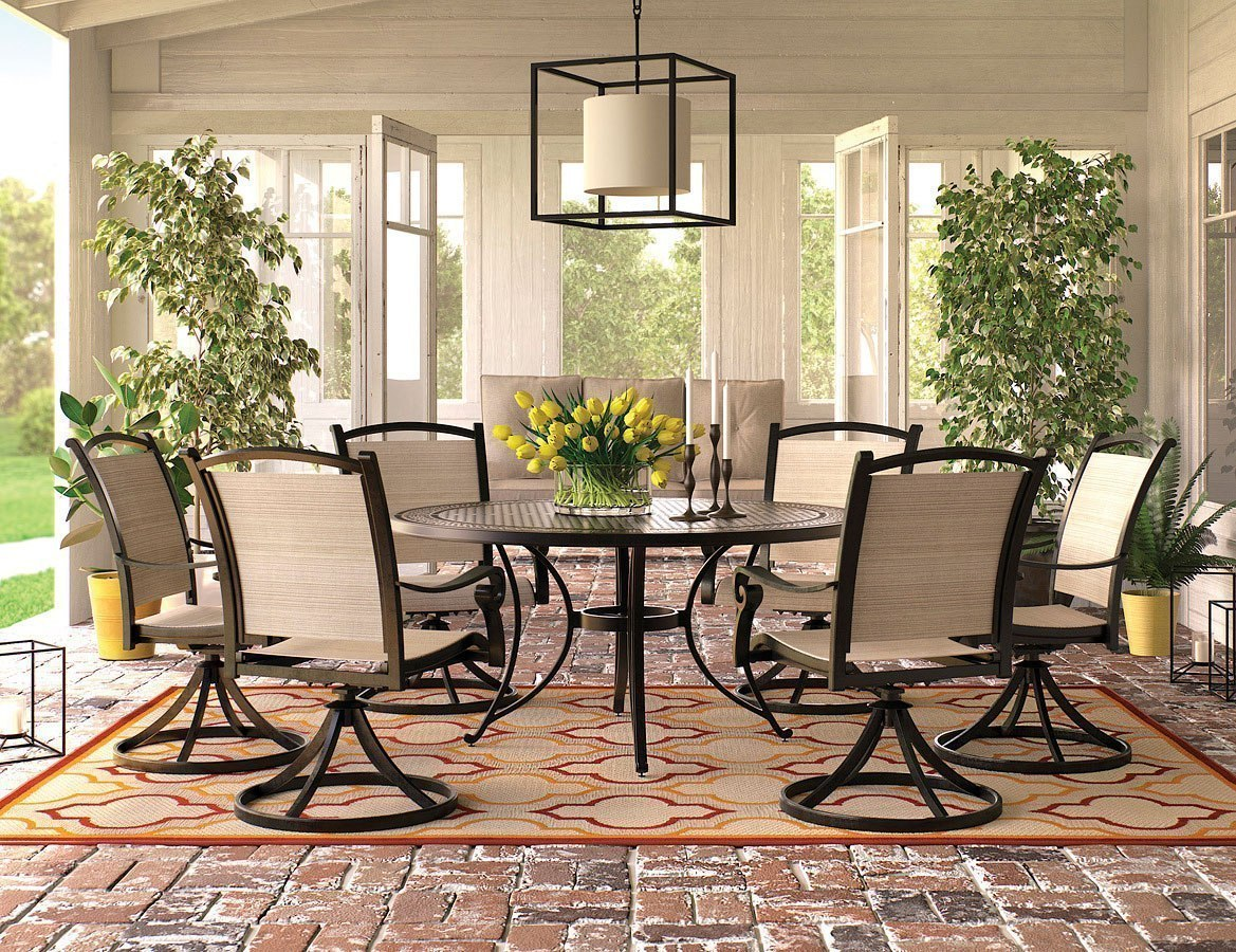 Burnella Outdoor Large Round Dining Set W/ Bass Lake Swivel Chairs