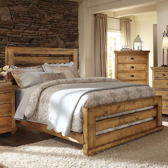 Willow slat bed distressed pine by progressive furniture furniturepick for Distressed pine bedroom furniture