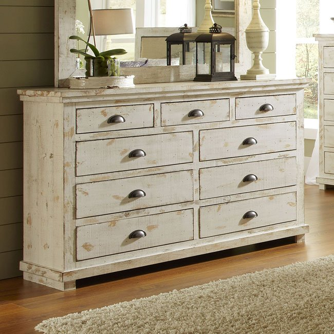 Willow Drawer Dresser Distressed White By Progressive