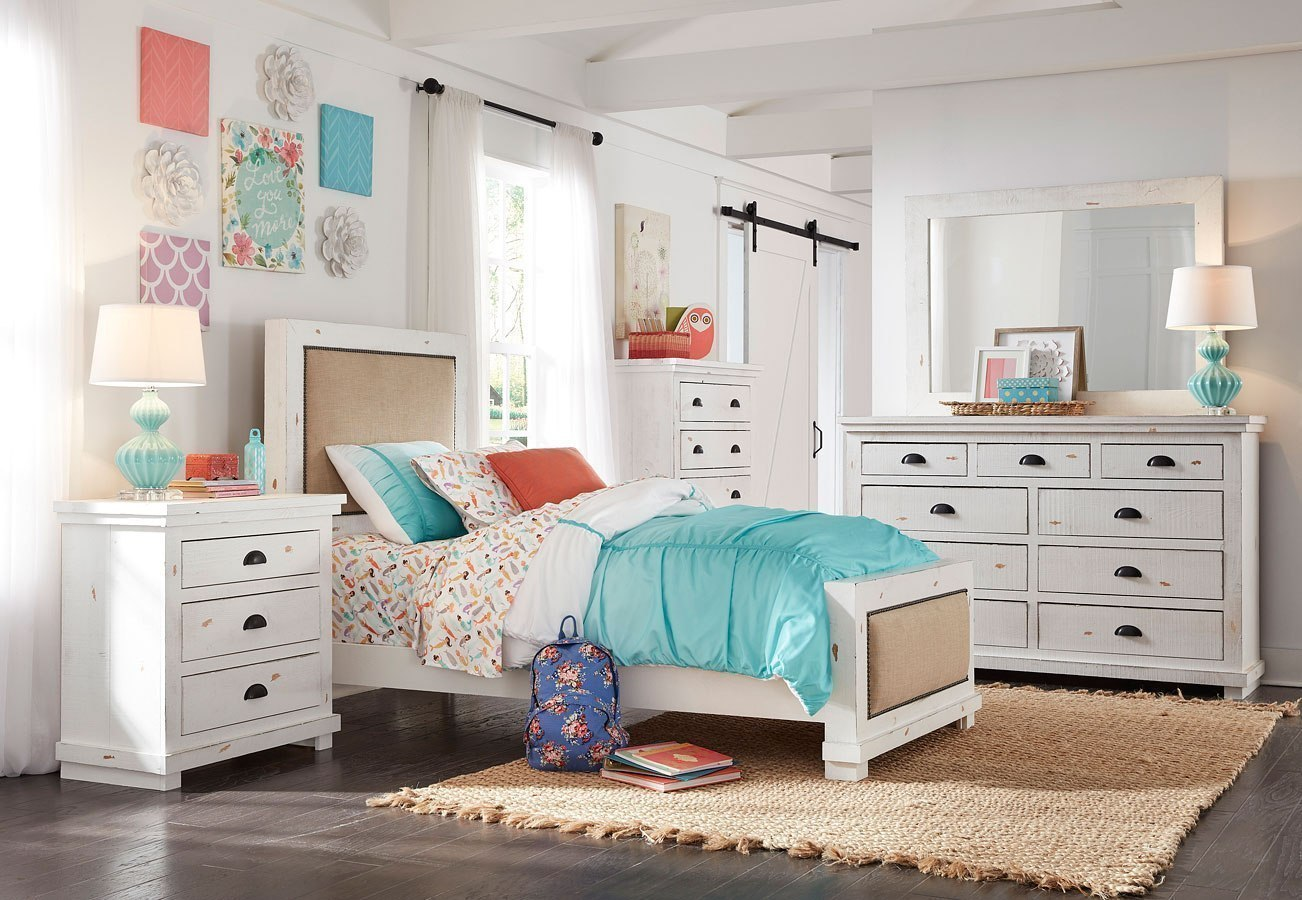 Willow Youth Upholstered Bedroom Set Distressed White By