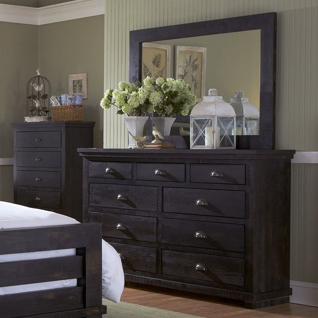 Willow upholstered bedroom set distressed black by - Distressed bedroom furniture sets ...