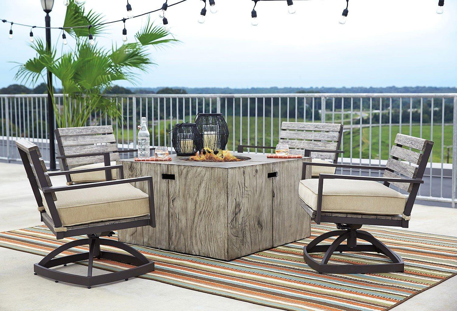 Peachstone Square Fire Pit Table Set