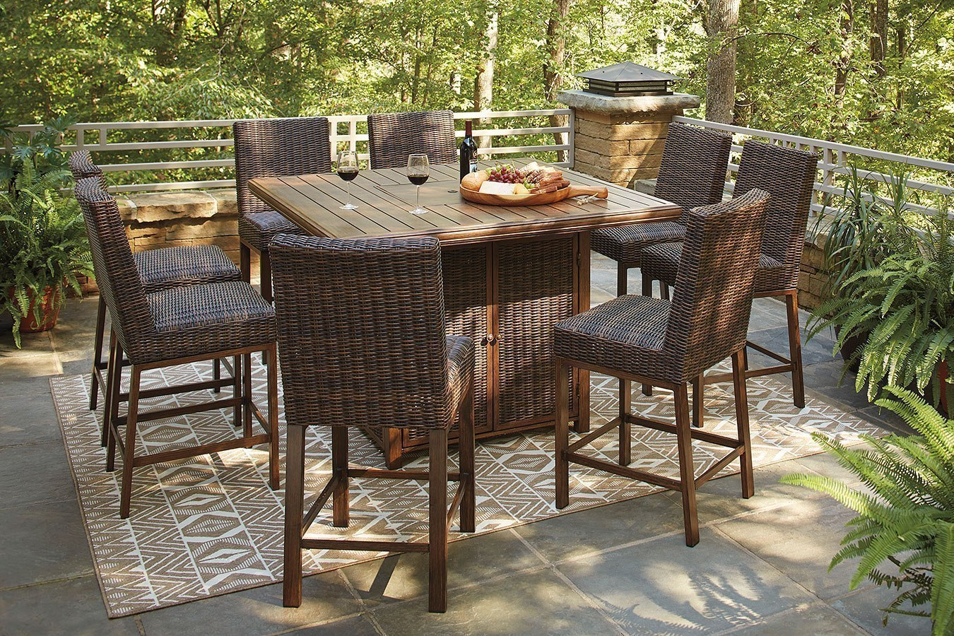 Paradise Trail Outdoor Fire Pit Bar Table Set By Signature