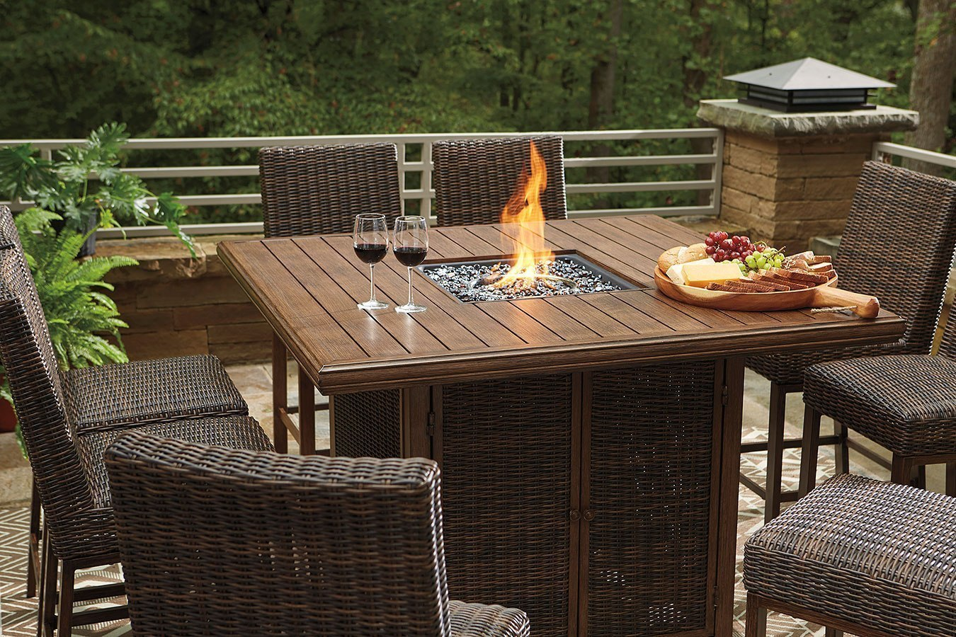 Paradise Trail Outdoor Fire Pit Bar Table Set by Signature ...