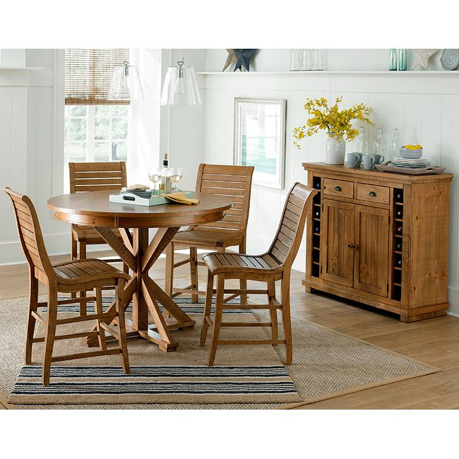 Willow Round Counter Height Dining Set (Distressed Pine)