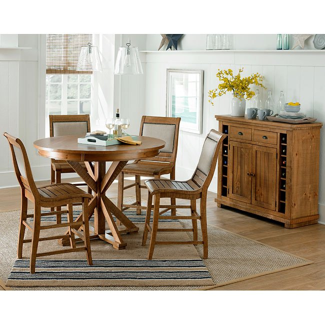 Willow Round Counter Dining Set W/ Upholstered Chairs (Distressed Pine)