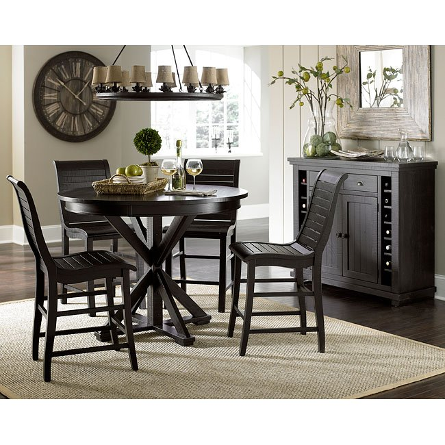 Willow Round Counter Height Dining Set (Distressed Black)