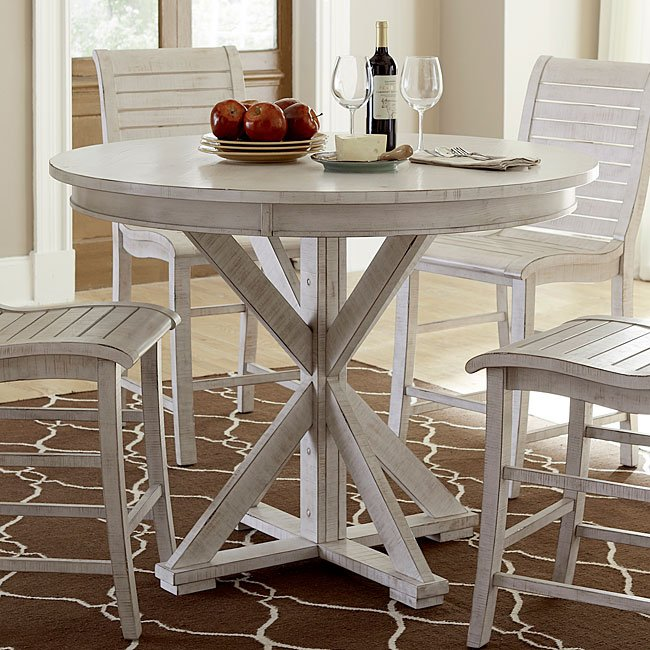 Superbe Willow Round Counter Height Table (Distressed White)