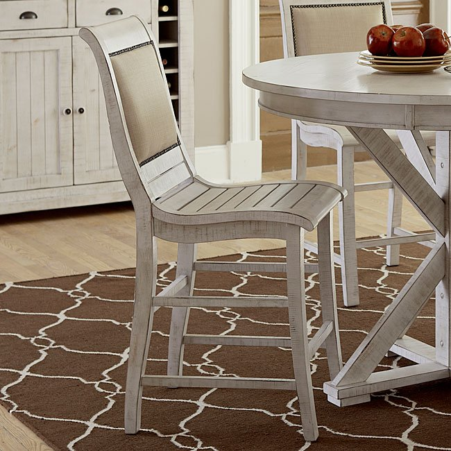Willow Upholstered Counter Height Chair (Set Of 2) (Distressed White) By  Progressive