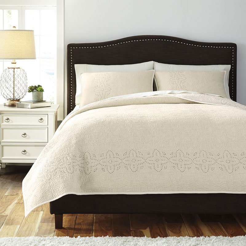 Coaster Bedroom Furniture >> Stitched Off White Quilt Set - Bedding Sets - Bedding - Bedroom