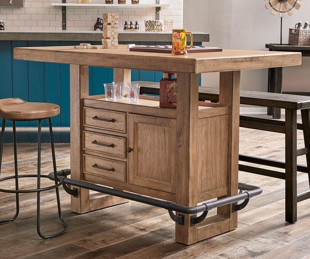 Furniture City Brewing Blonde Storage Leg Bar Table Set