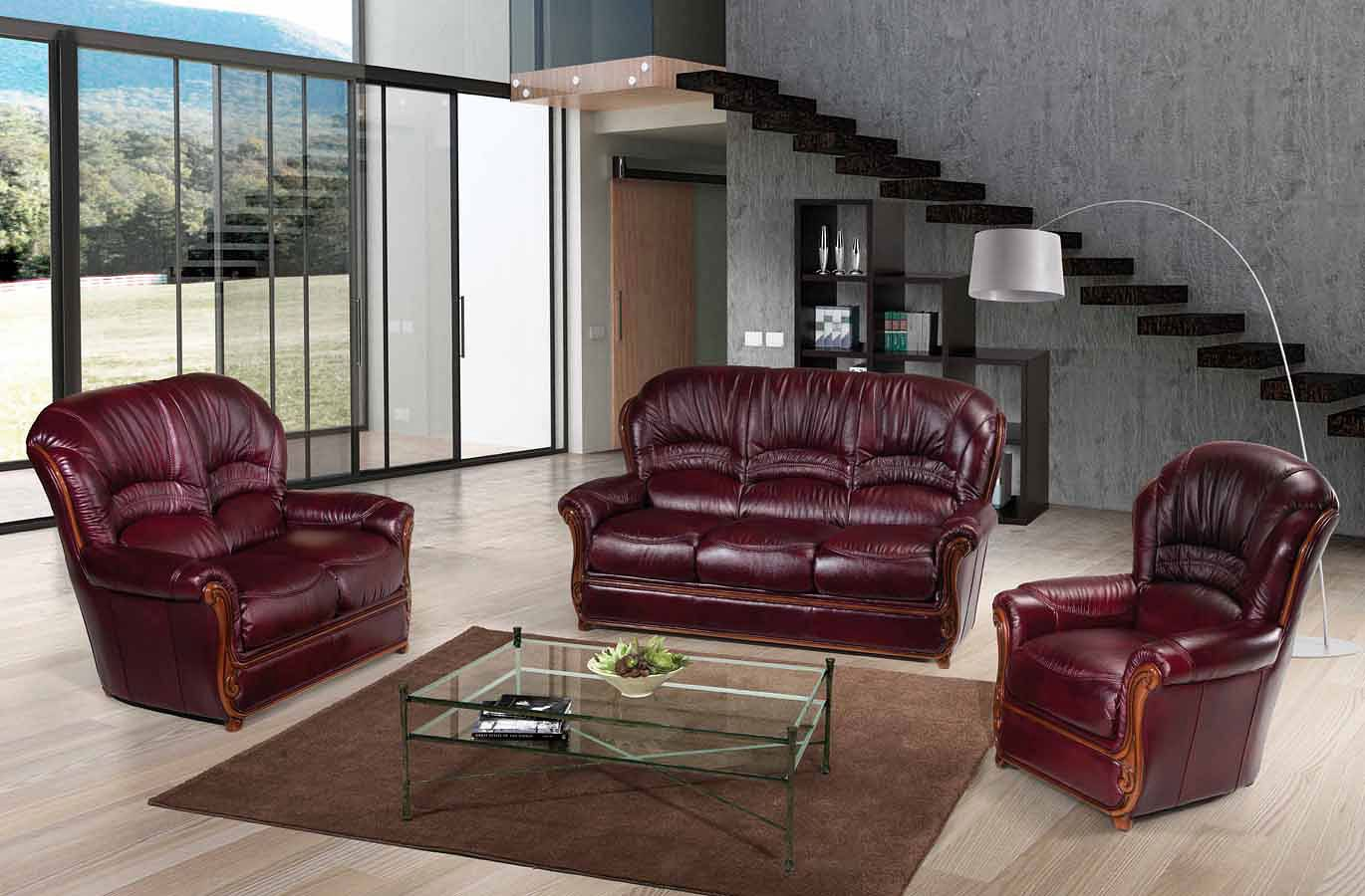Sara Italian Leather Living Room Set by ESF Furniture ...