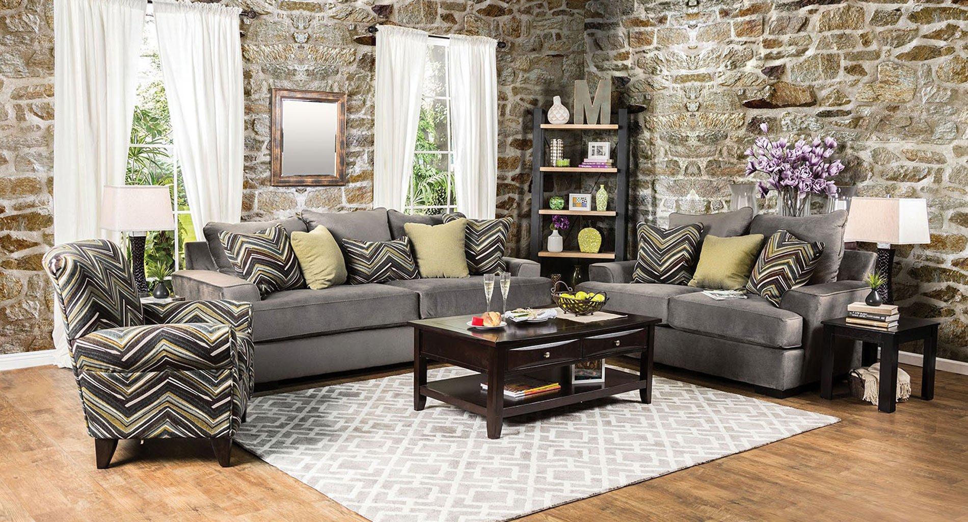 Cashel Living Room Set (Olive Gray) By Furniture Of
