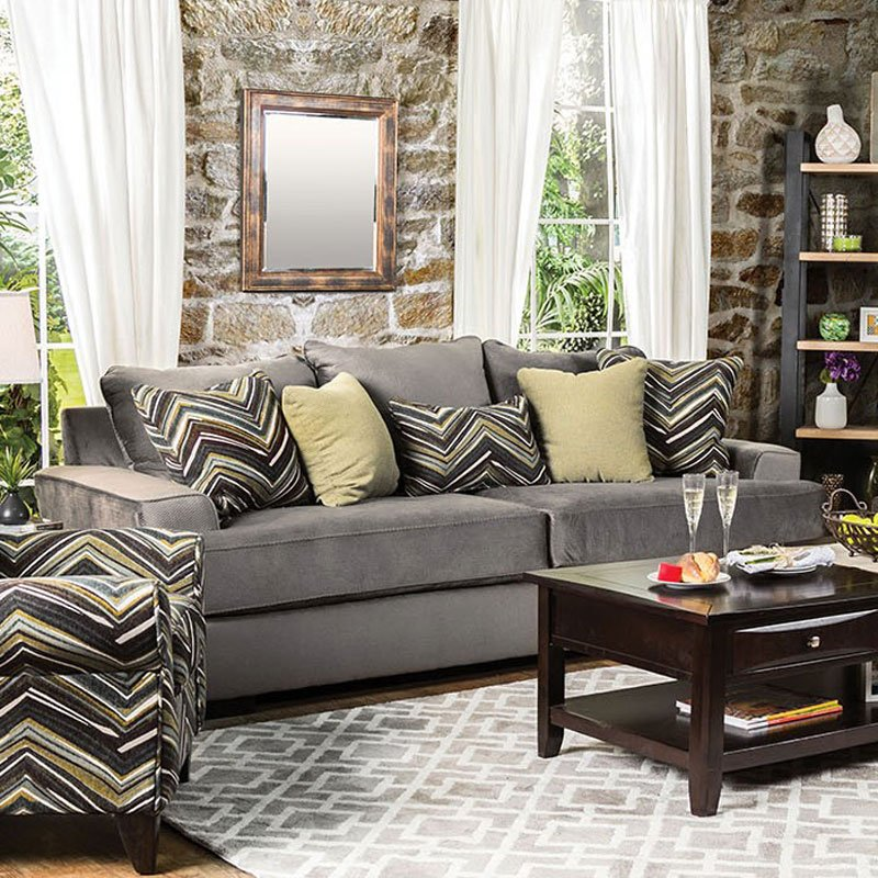 Furniture Of America Living Room Collections: Cashel Living Room Set (Olive Gray) By Furniture Of