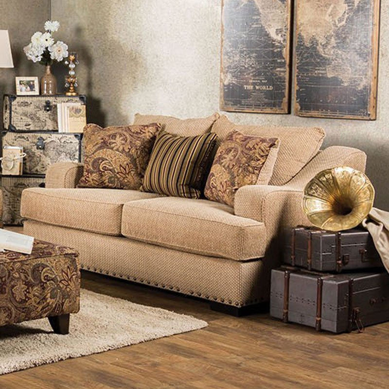 Furniture Of America Living Room Collections: Arklow Loveseat (Tan) By Furniture Of America