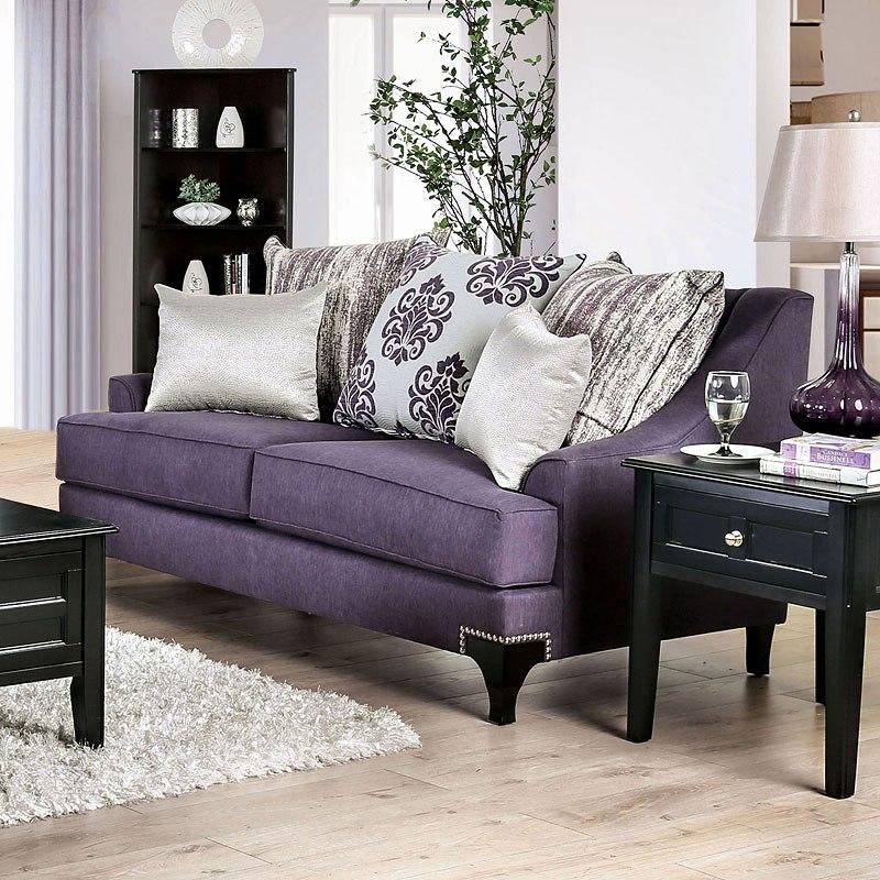 Sisseton Living Room Set (Purple) By Furniture Of America