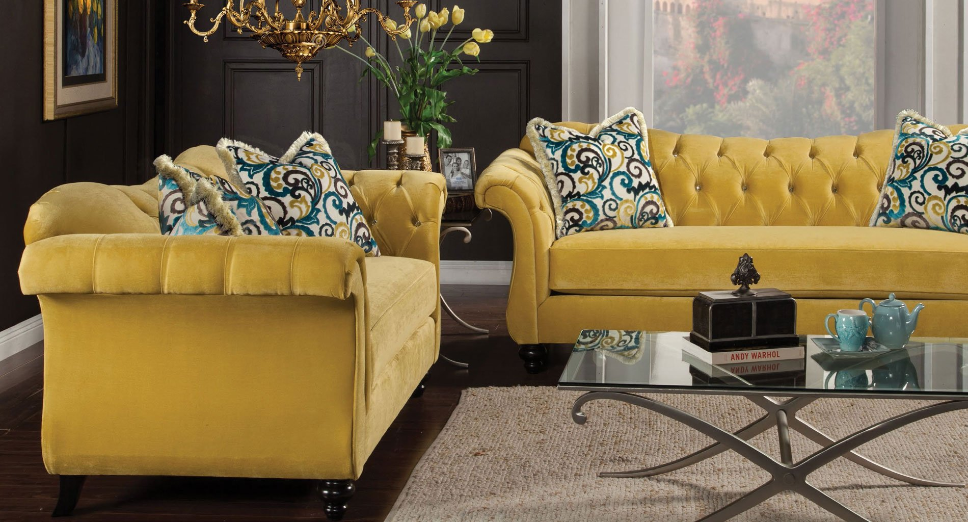 Groovy Antoinette Ii Living Room Set Royal Yellow Interior Design Ideas Tzicisoteloinfo