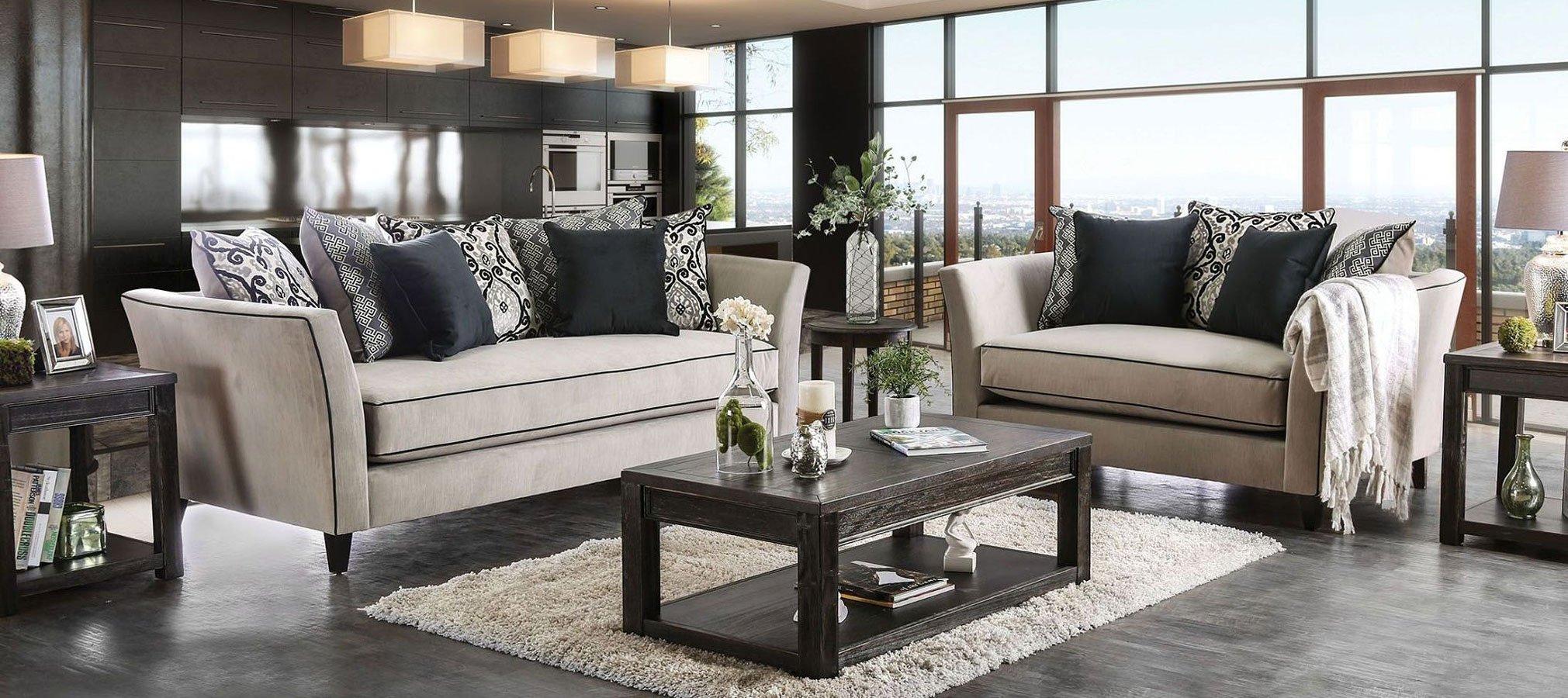 Chantal Living Room Set (Gray) by Furniture of America   FurniturePick