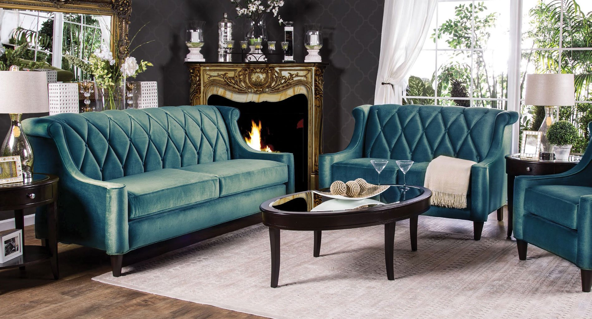 Limerick Living Room Set Dark Teal Living Room Sets