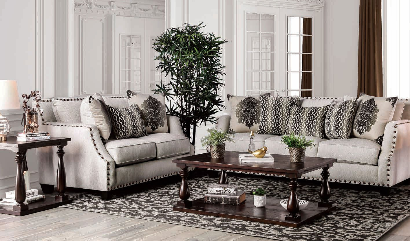 Living Room Furniture Sets: Cornelia Living Room Set (Beige) By Furniture Of America