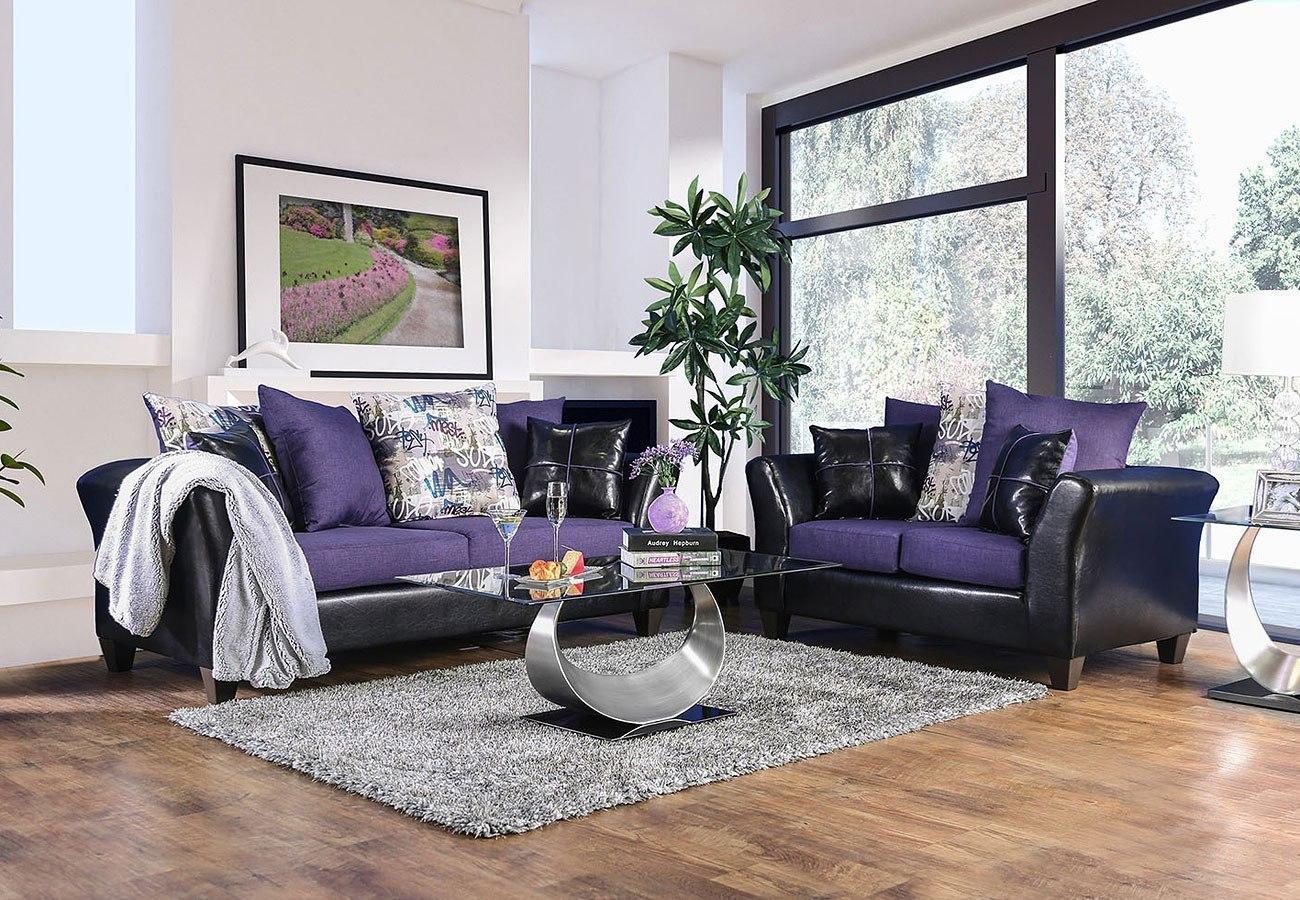 Kaelyn Living Room Set (Black / Purple) by Furniture of ...