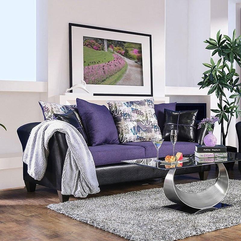 Kaelyn Sofa (Black / Purple) By Furniture Of America