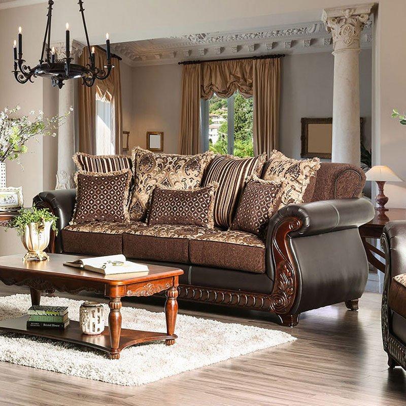 Franklin Living Room Set (Dark Brown) By Furniture Of