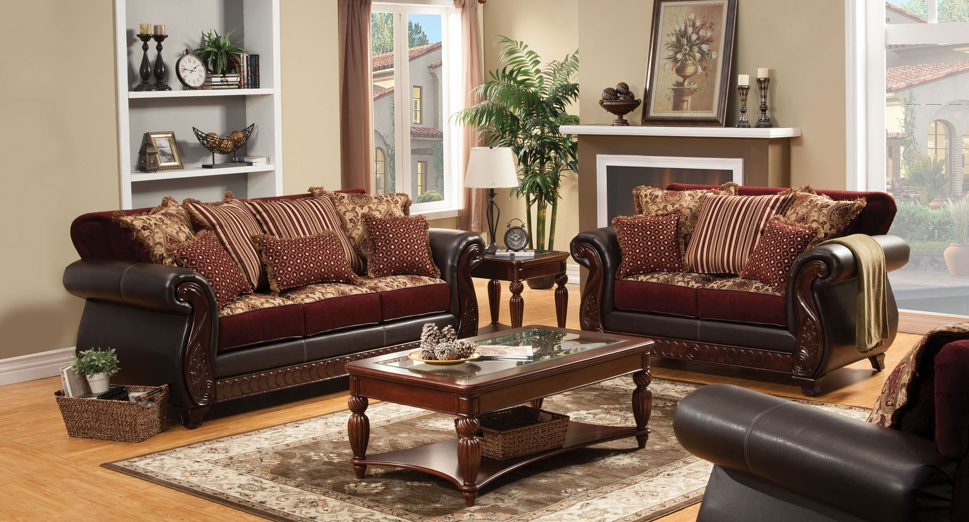 Franklin Living Room Set Burgundy By Furniture Of