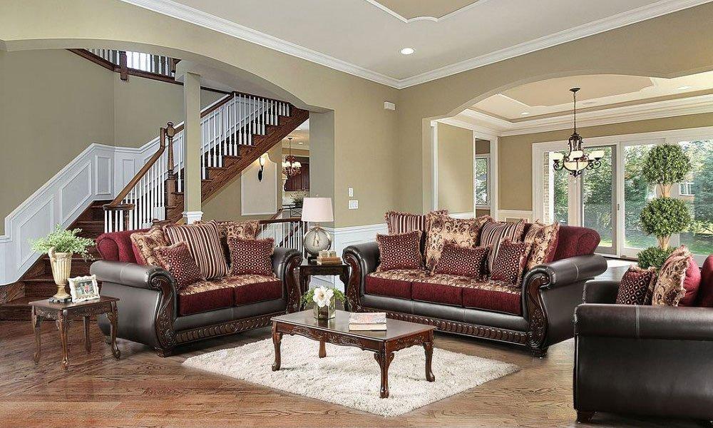 Franklin Living Room Set (Burgundy)