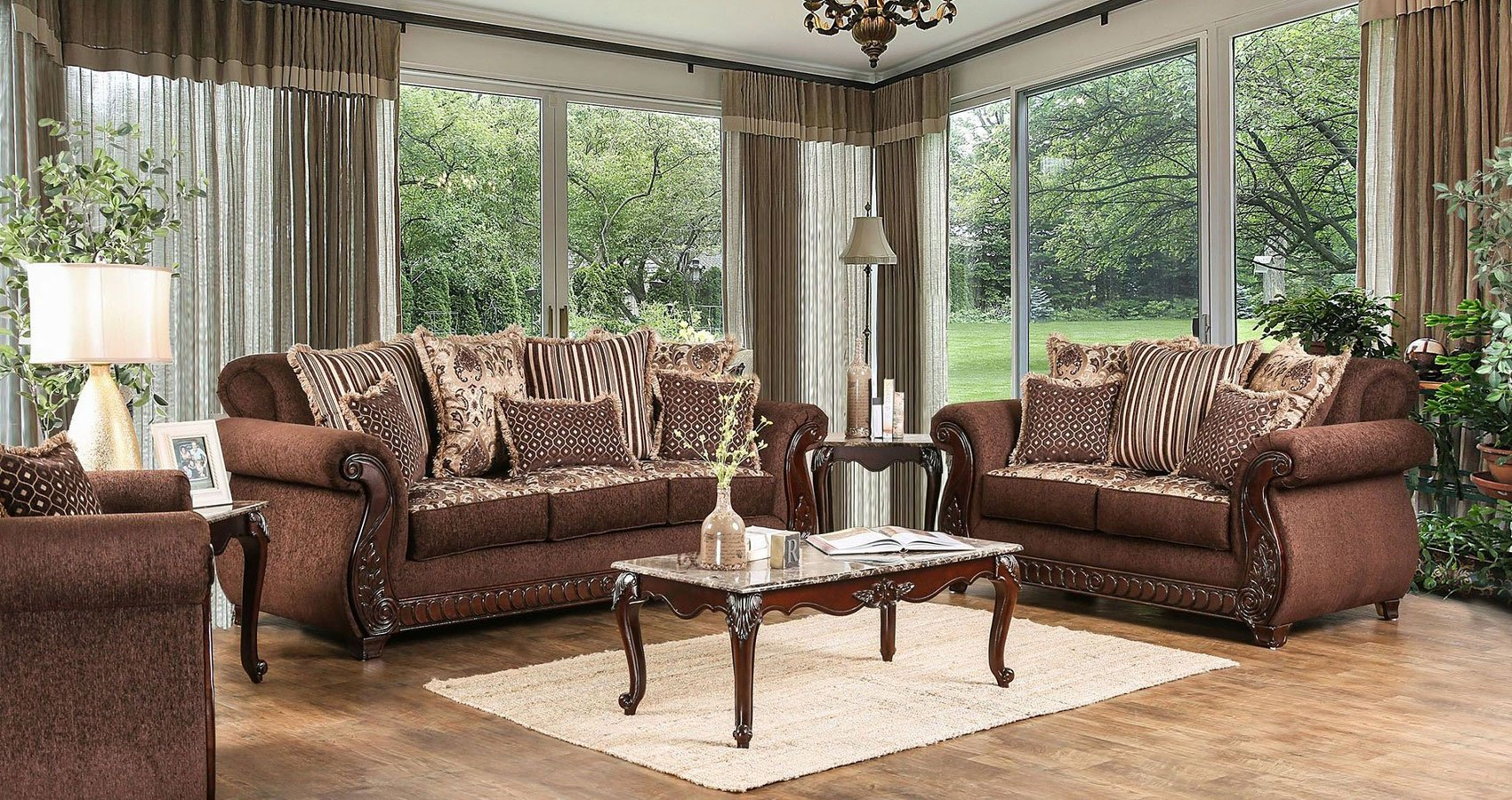 Tabitha Living Room Set (Brown)