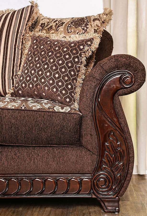 living room set brown by furniture of america 83654