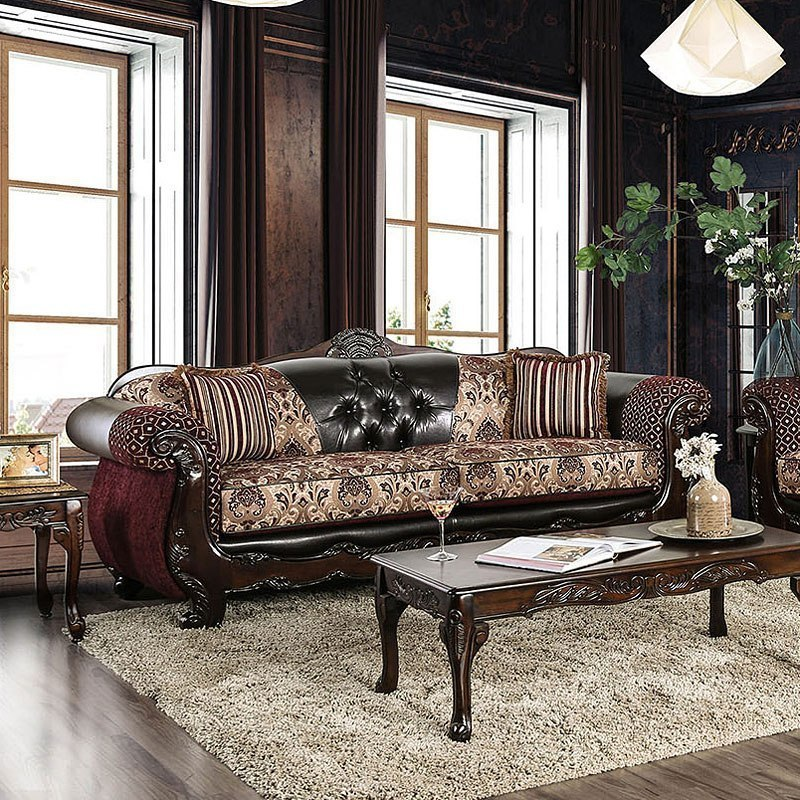Our Favorite Ways To Decorate With A Brown Sofa: Quirino Sofa (Burgundy / Dark Brown) By Furniture Of