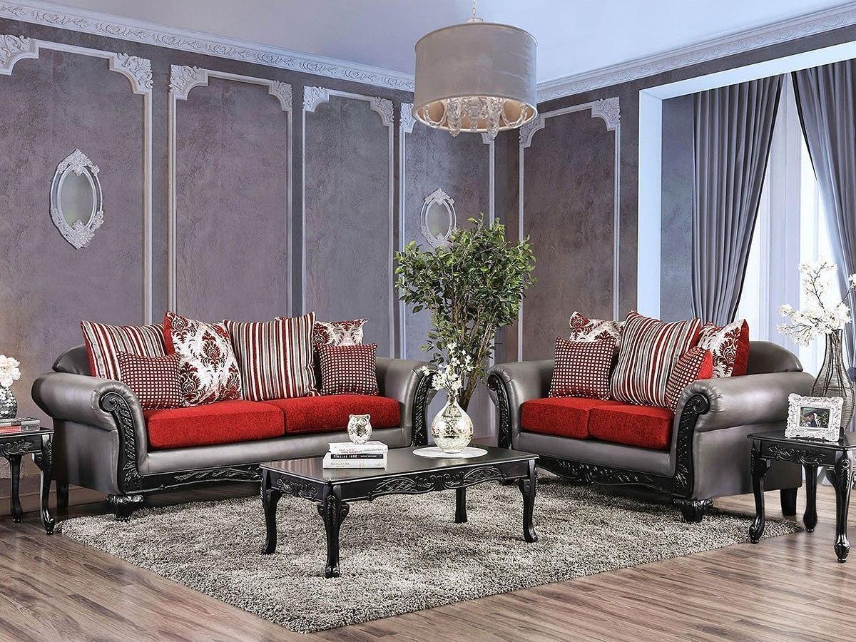 Midleton Living Room Set (Gray / Red)