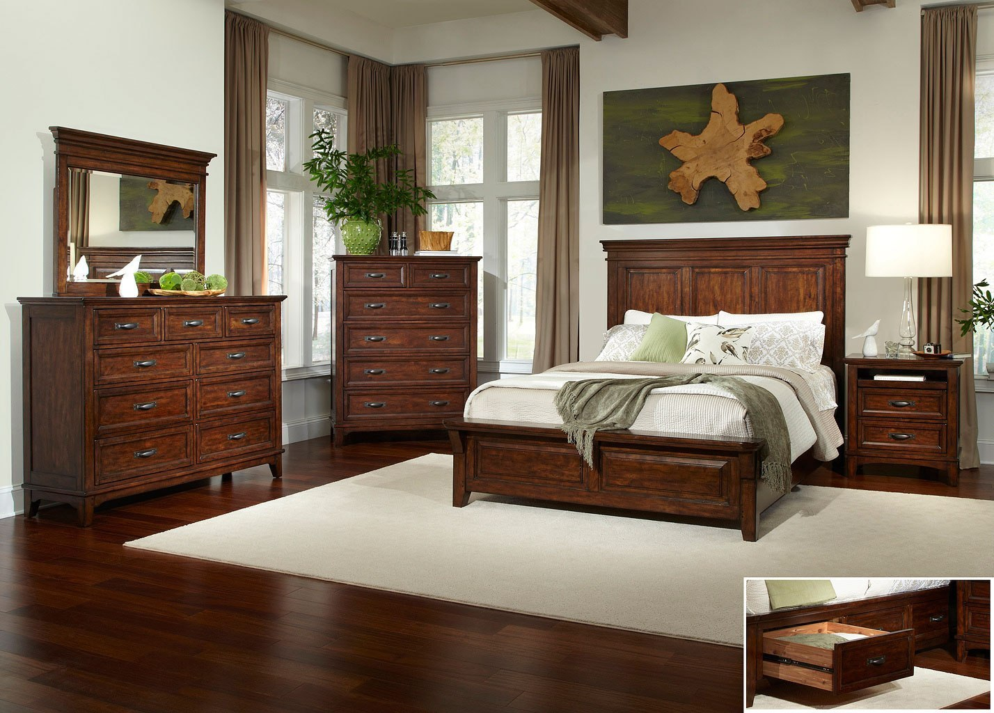 Star Valley Panel Bedroom Set W One Side Storage By
