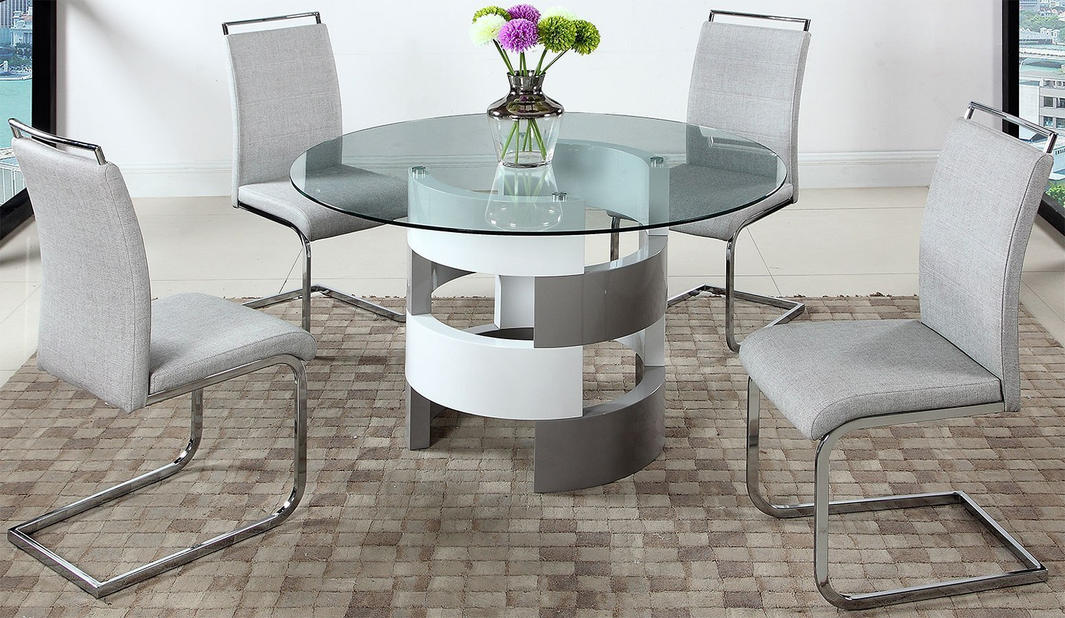 Sunny Round Dining Room Set By Chintaly Imports