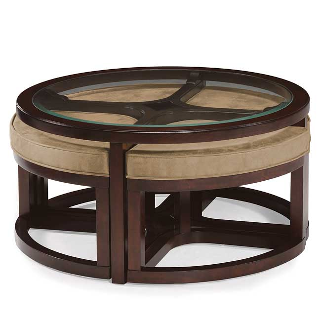 Magnussen Home Cranfill Round Cocktail Table: Juniper Round Cocktail Table W/ 4 Stools By Magnussen