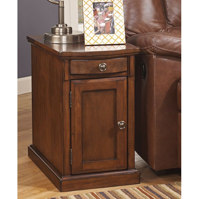 Power Chairside End Table Medium Brown Signature Design