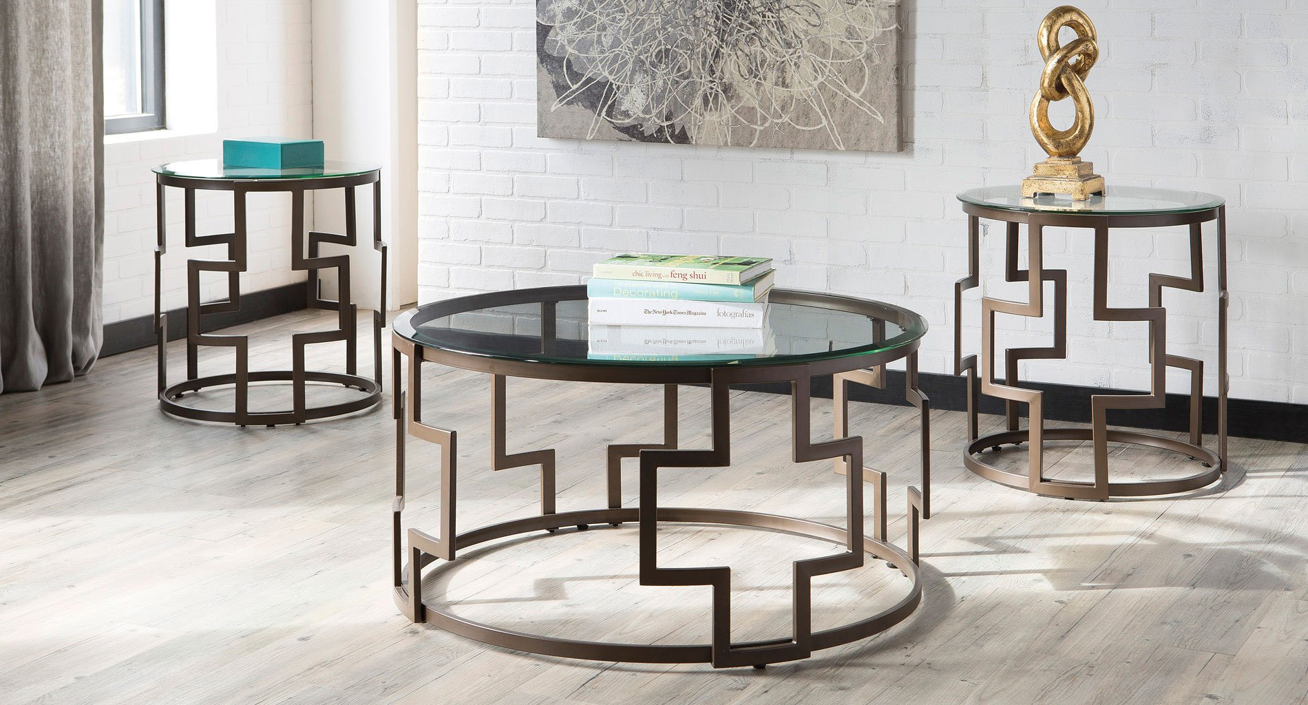 Frostine 3 Piece Occasional Table Set By Signature Design