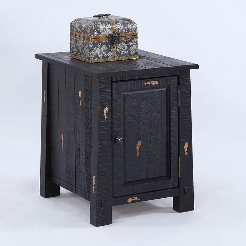 Global Views Kyoto Media Cabinet: Willow Chairside Cabinet (Distressed Black)