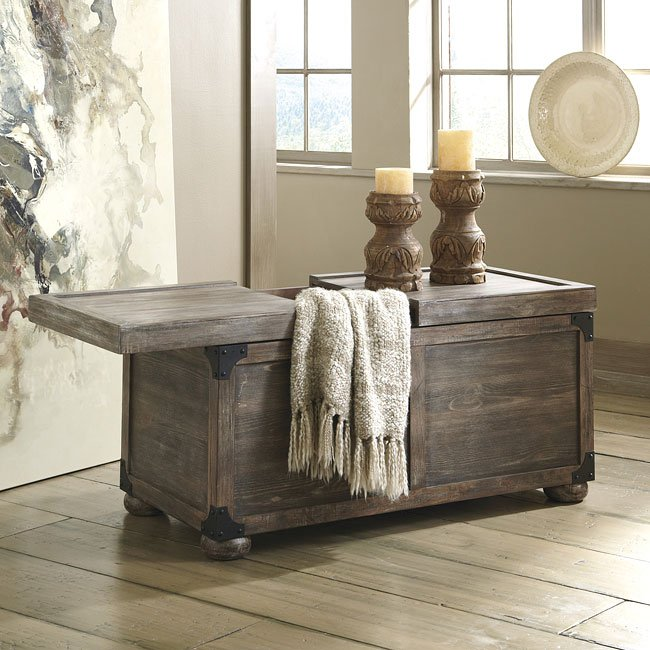 Lpd Furniture Accent White Coffee Table: Rustic Accents Storage Cocktail Table (Driftwood) By