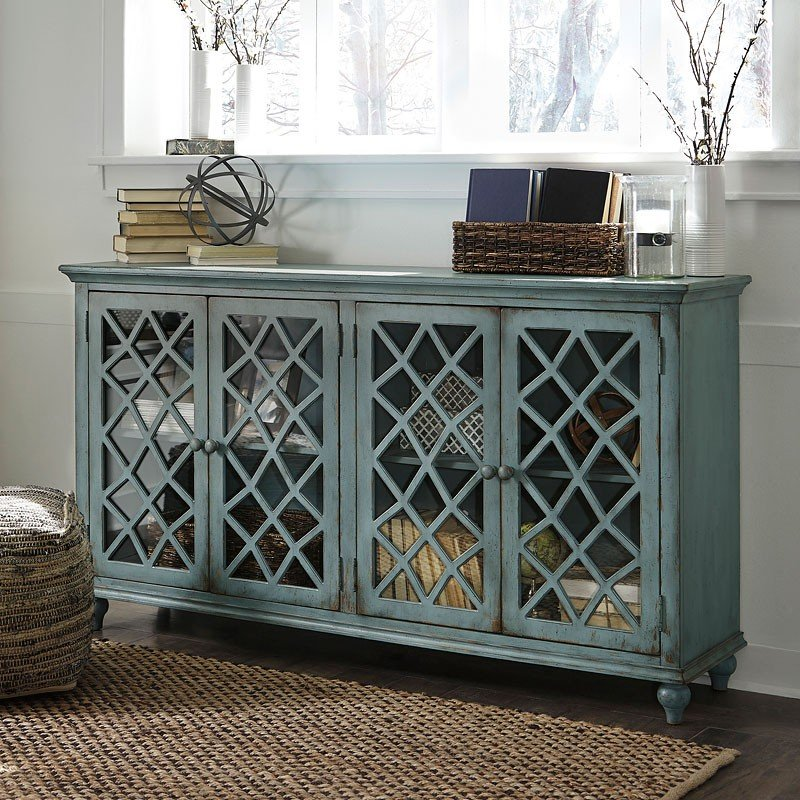 Mirimyn Antique Teal Accent Cabinet W 4 Doors Accent