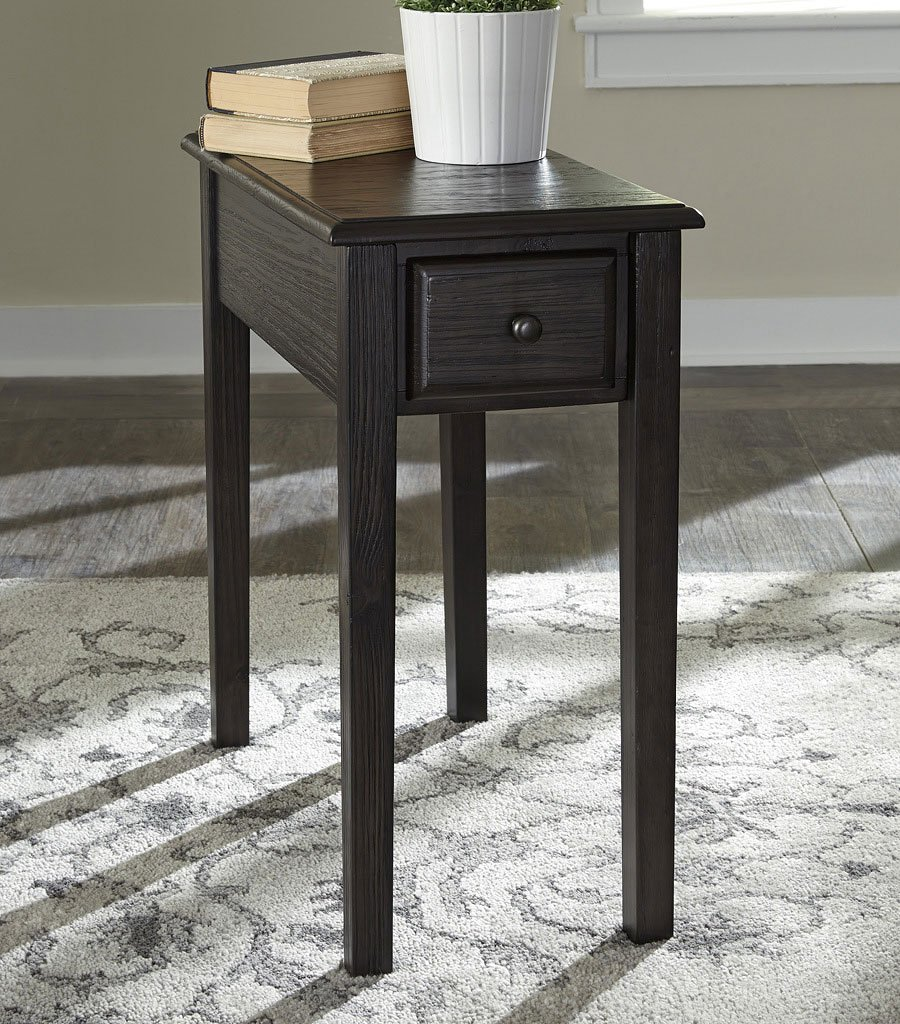 Solid Wood Grayish Brown Chairside Table By Signature