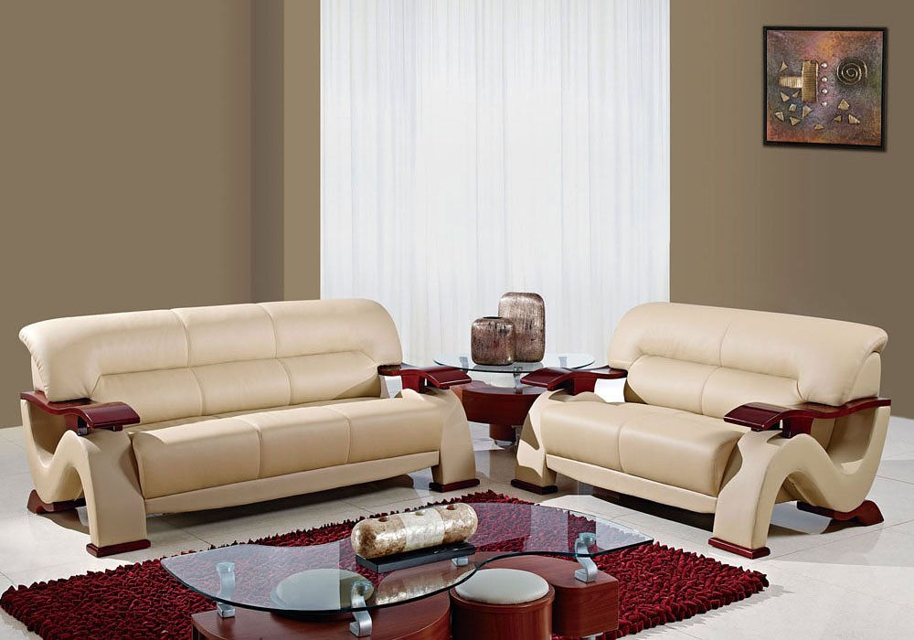 U2033 Bonded Leather Living Room Set Cuccino