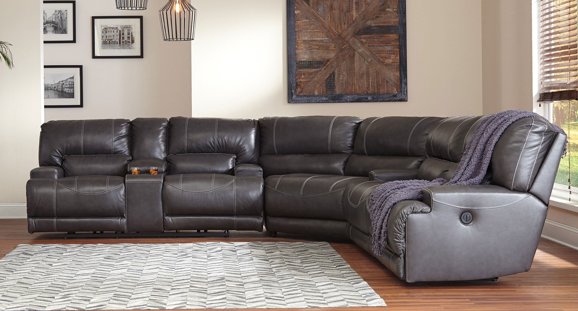 Mccaskill Gray Reclining Sectional Sectionals Living