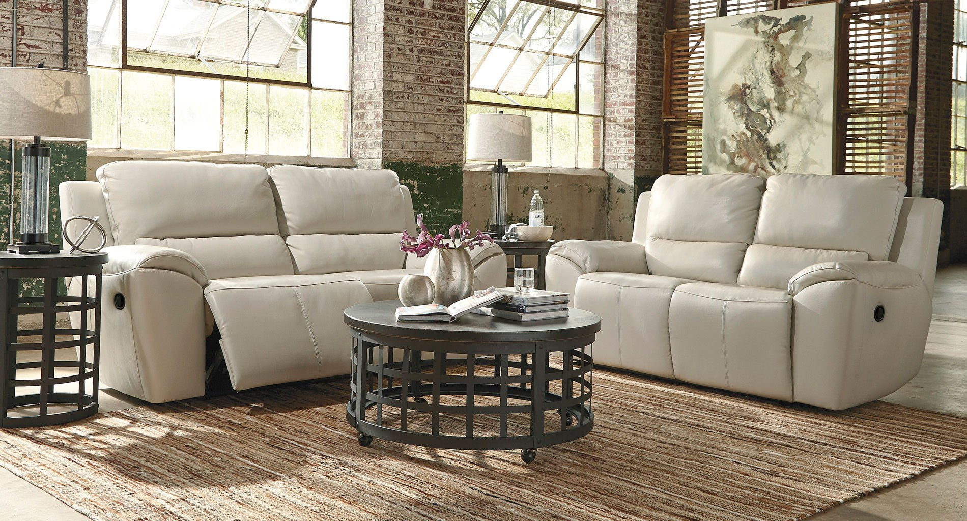 Living Room Furniture: Valeton Cream Reclining Living Room Set