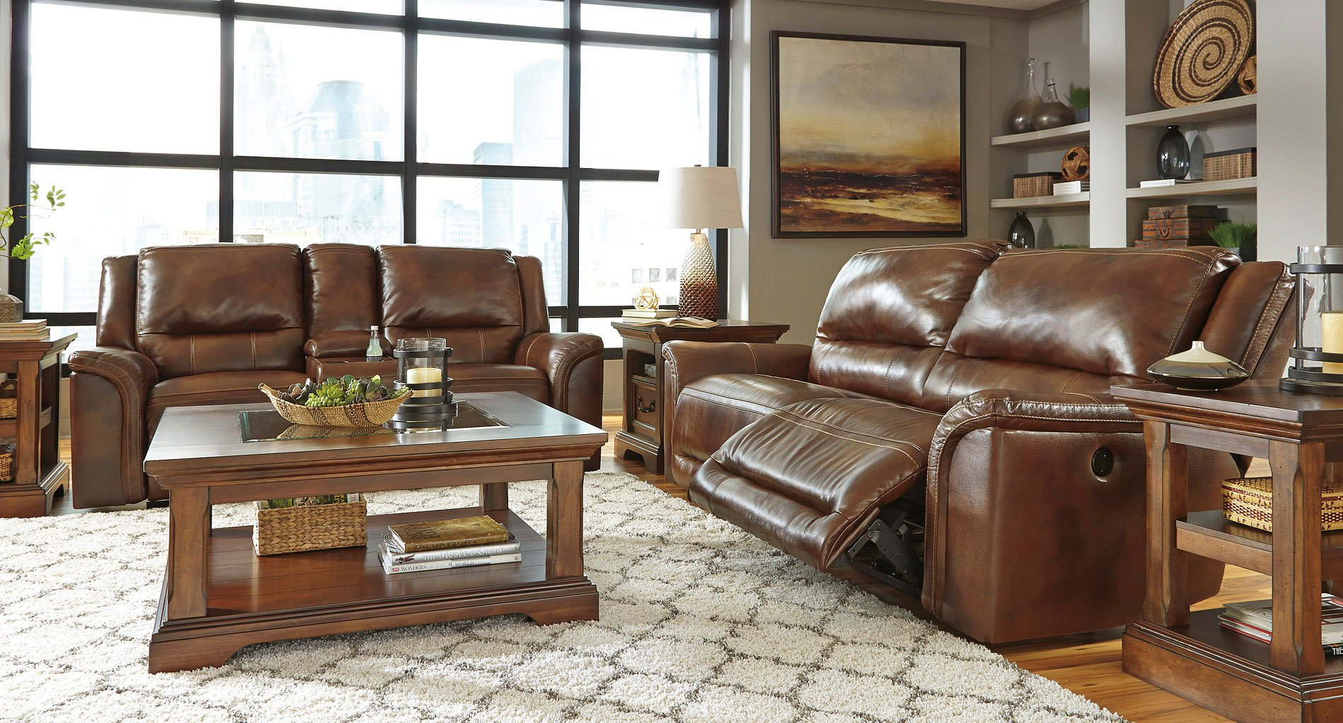 Jayron Leather Power Reclining Living Room Set Signature ...