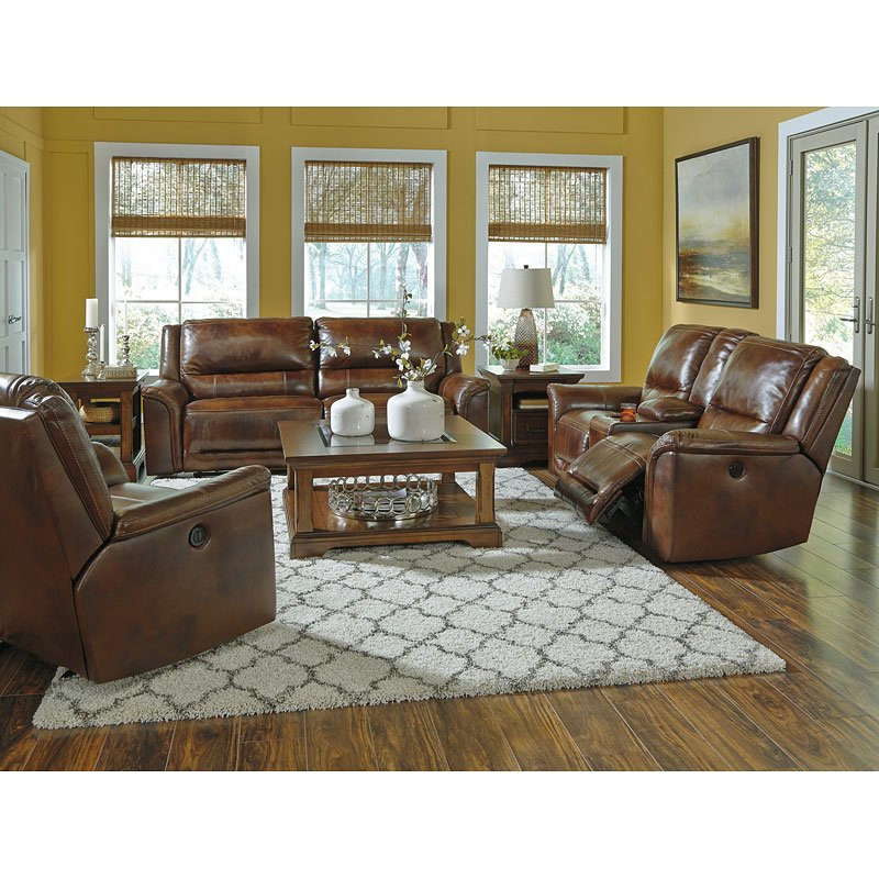 Jayron Leather Reclining Living Room Set by Signature ...